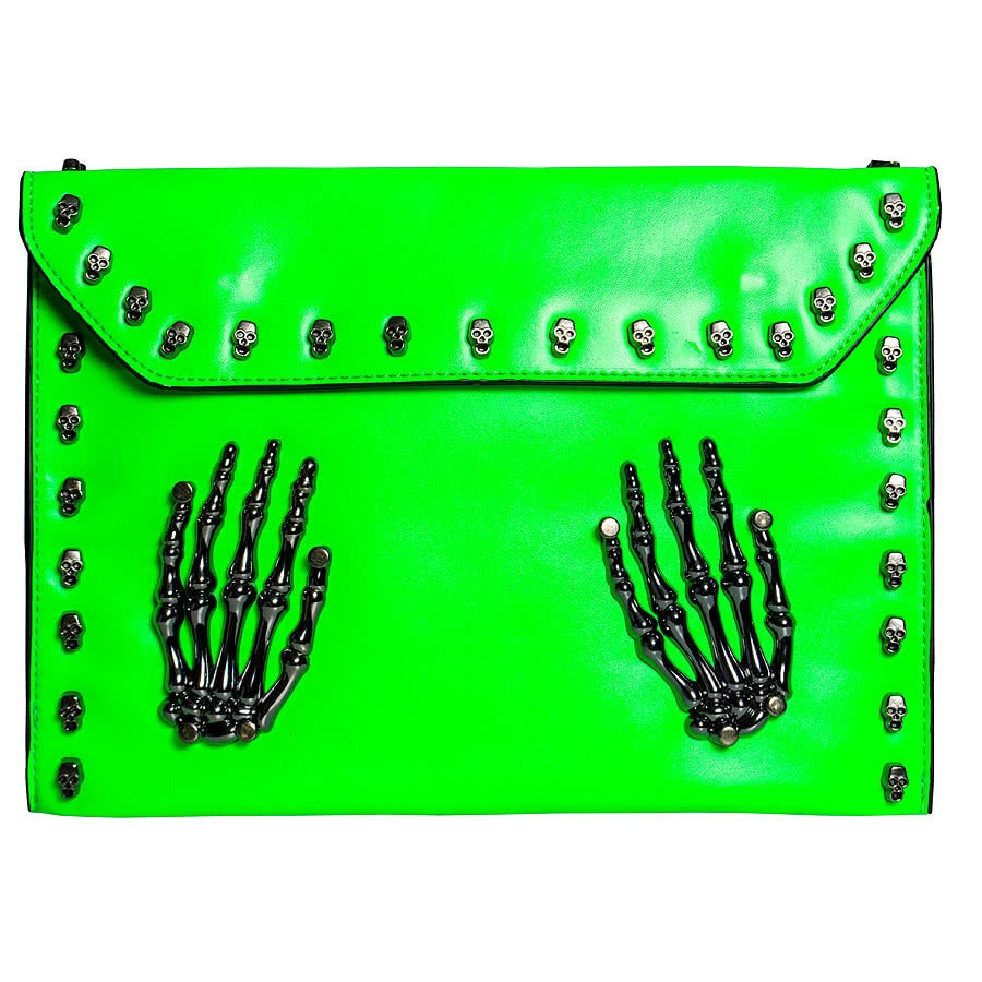 Blue Banana Skeleton Hands Studded Clutch Bag (Green)