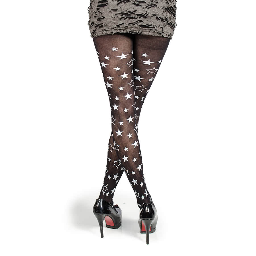 Blue Banana Small Stars Tights (Black)