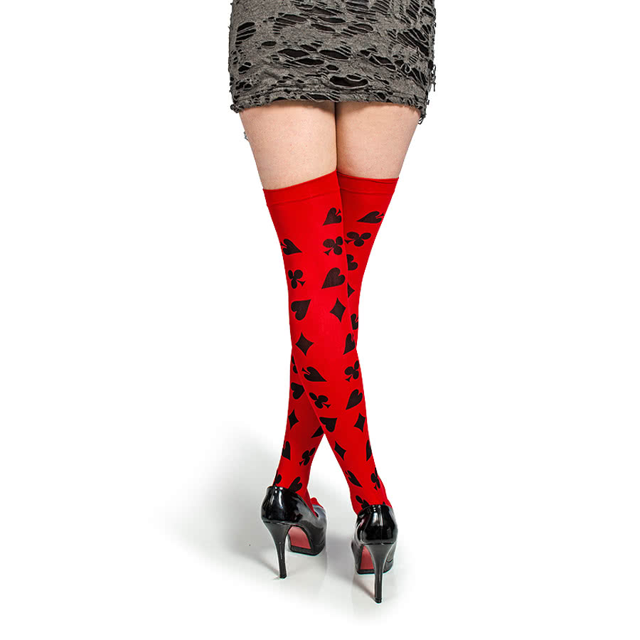 Blue Banana Ace Card Hold-Up Tights (Red)
