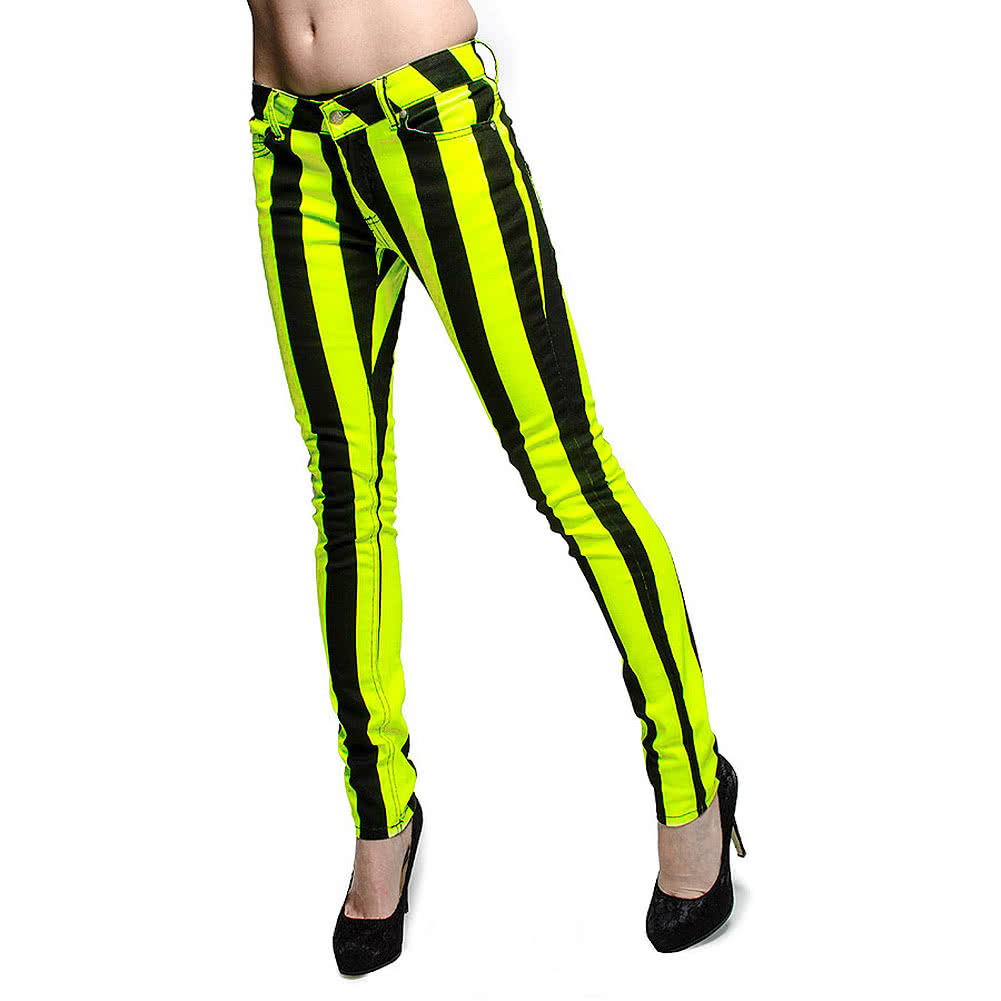 Bleeding Heart Ultra Skinny Stripes Jeans (UV Lemon)