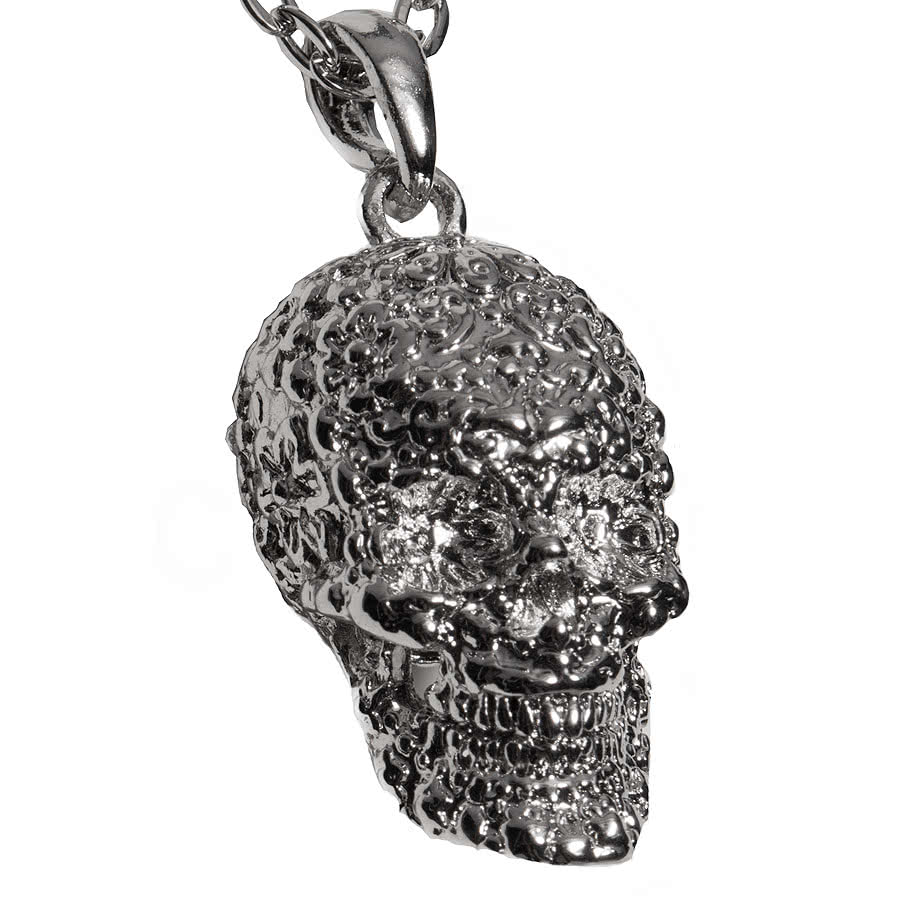 Blue Banana Flower Skull Necklace (Silver)