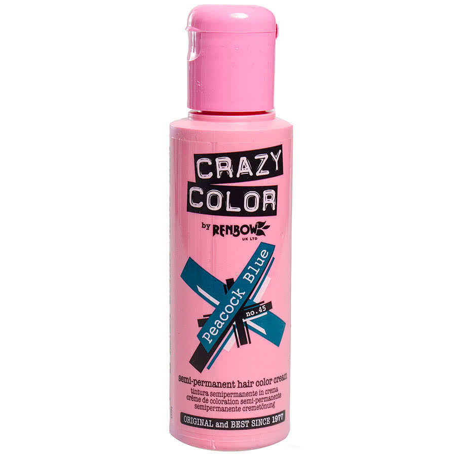Crazy Color Semi-Permanent Hair Dye 100ml (Peacock Blue)