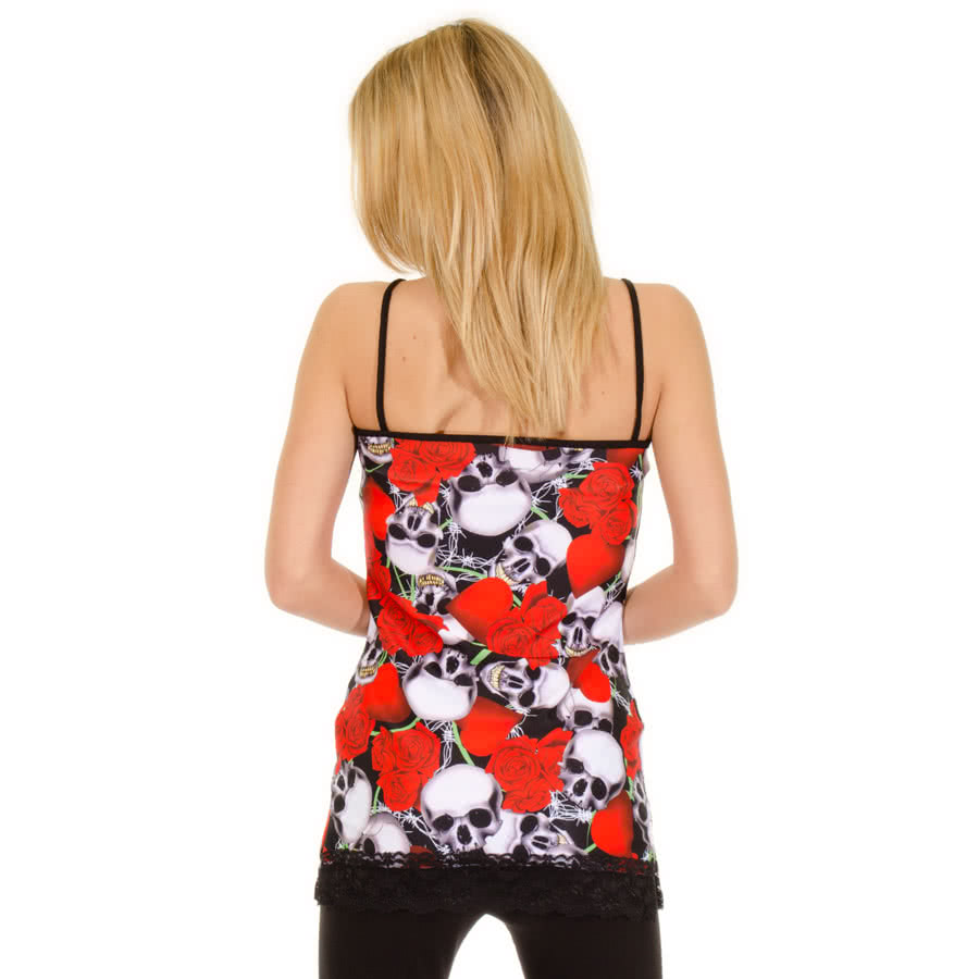 Insanity Skull Roses & Wire Vest Dress (Red)