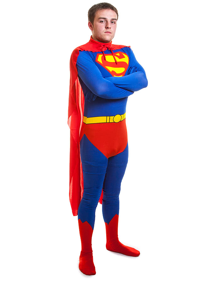 Rubies 2nd Skin Superman Jumpsuit (Blue/Red/Yellow)