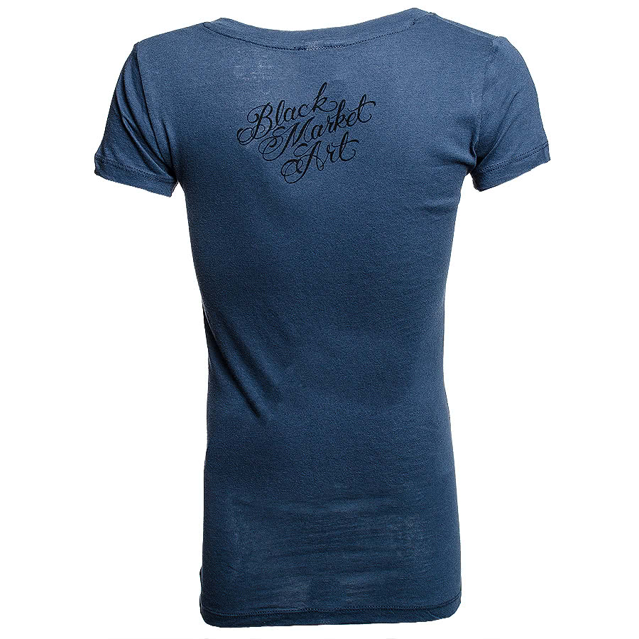 Black Market Wind Skinny Fit T Shirt (Blue)