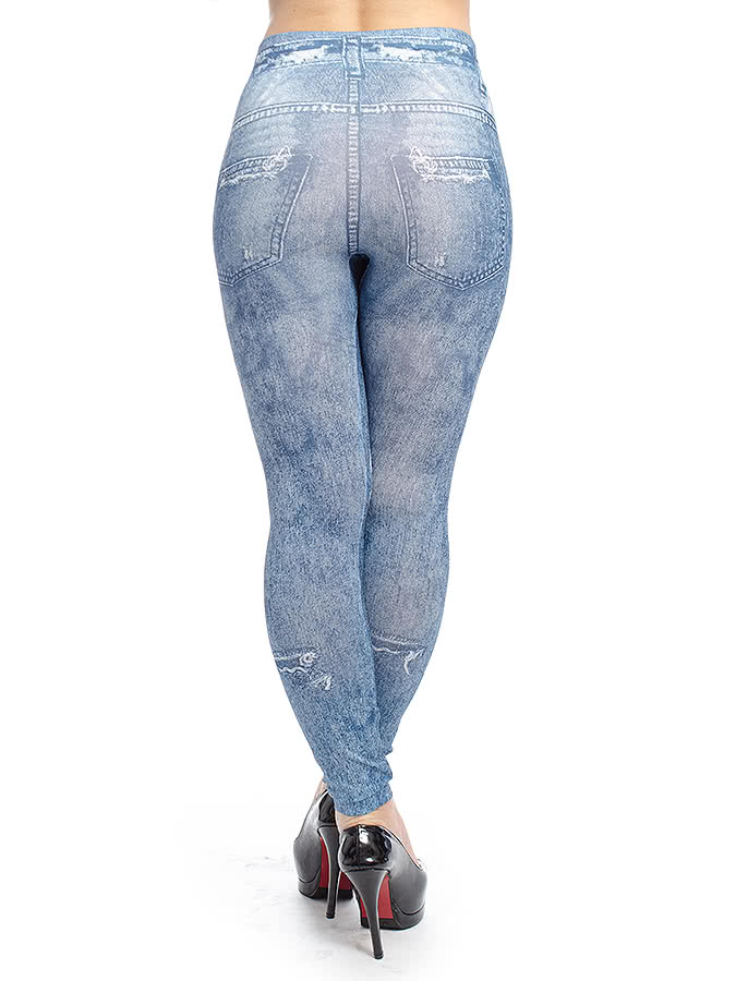 Blue Banana Ripped Jeggings (Blue)
