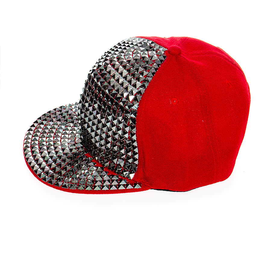 Blue Banana Spiked Square Studded Hat (Red)