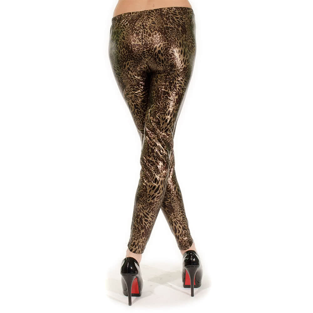 Blue Banana Metallic Leopard Small Print Leggings (Brown)