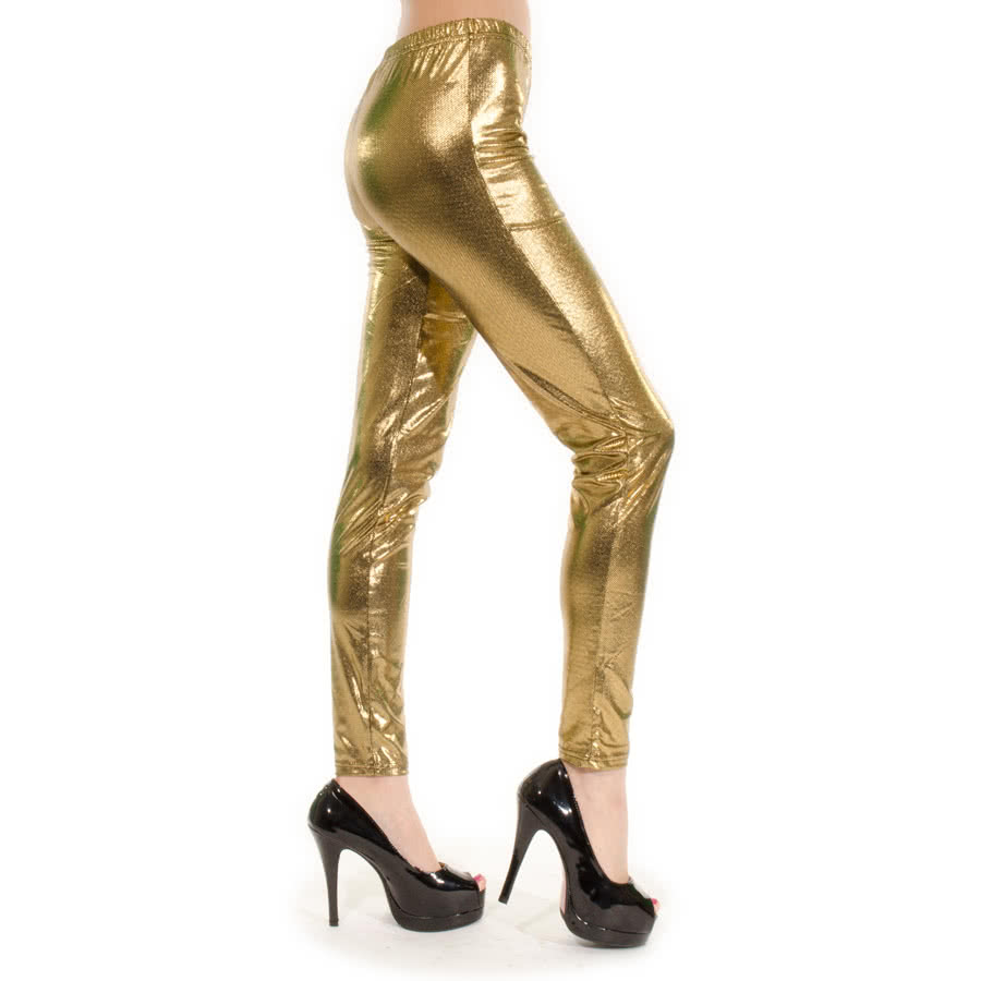 Blue Banana Metallic Leggings (Gold)