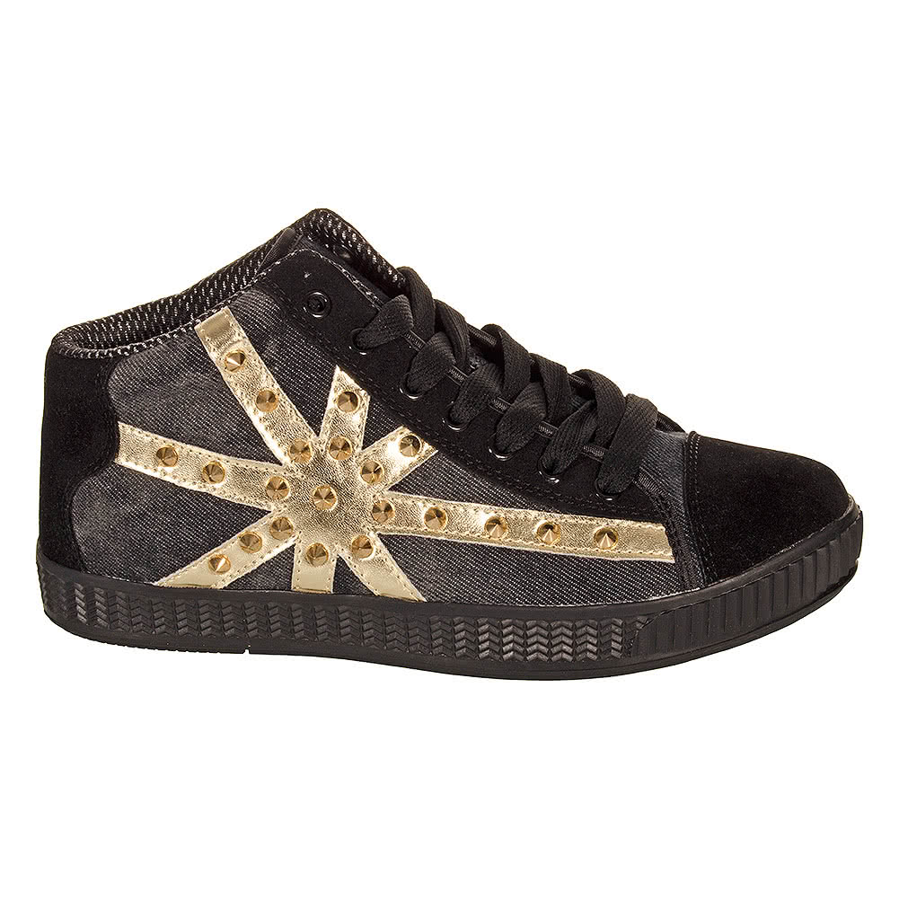 Bleeding Heart Union Jack With Studs Trainers (Black)