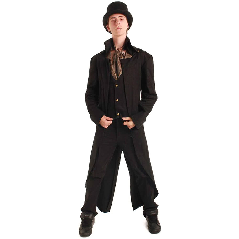 Steampunk Grim Long Coat (Black)