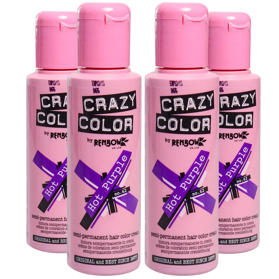 Crazy Color Semi-Permanent Hair Dye 4 Pack (Hot Purple)