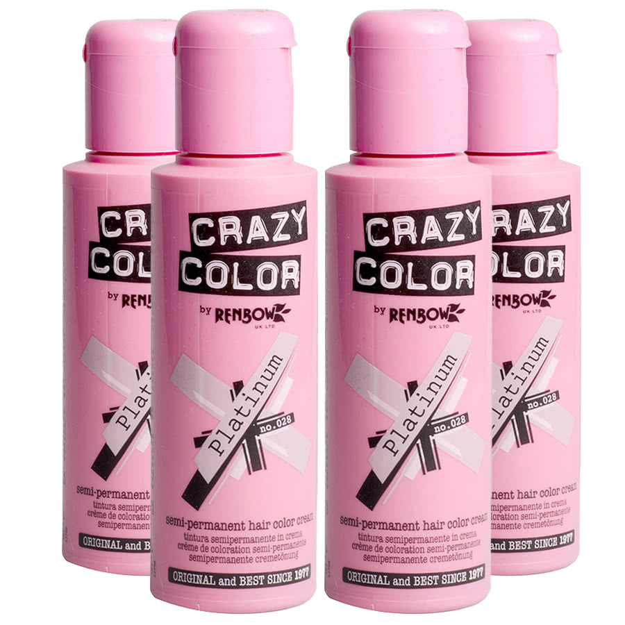 Crazy Color Semi-Permanent Hair Dye 4 Pack (Platinum)