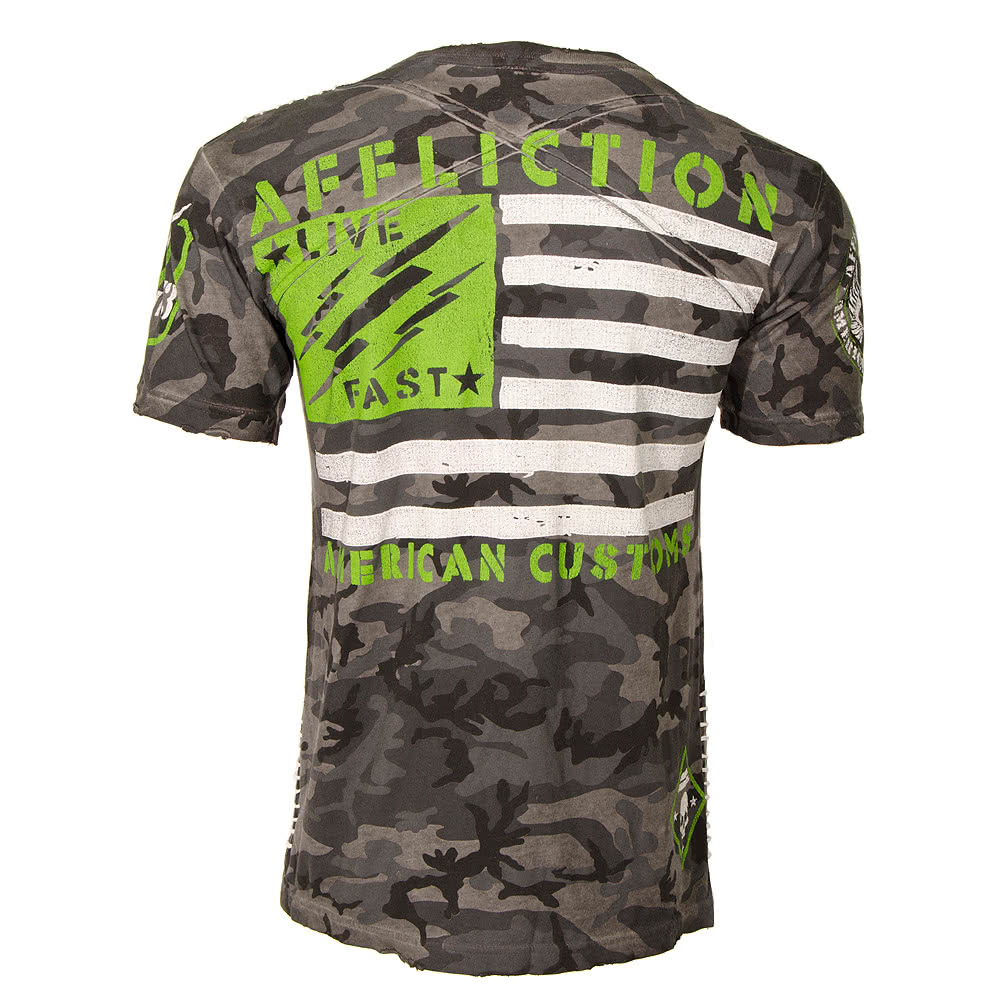 Affliction American Custom Abandon Cross Camoflauge Oil Stain T Shirt (Charcoal)