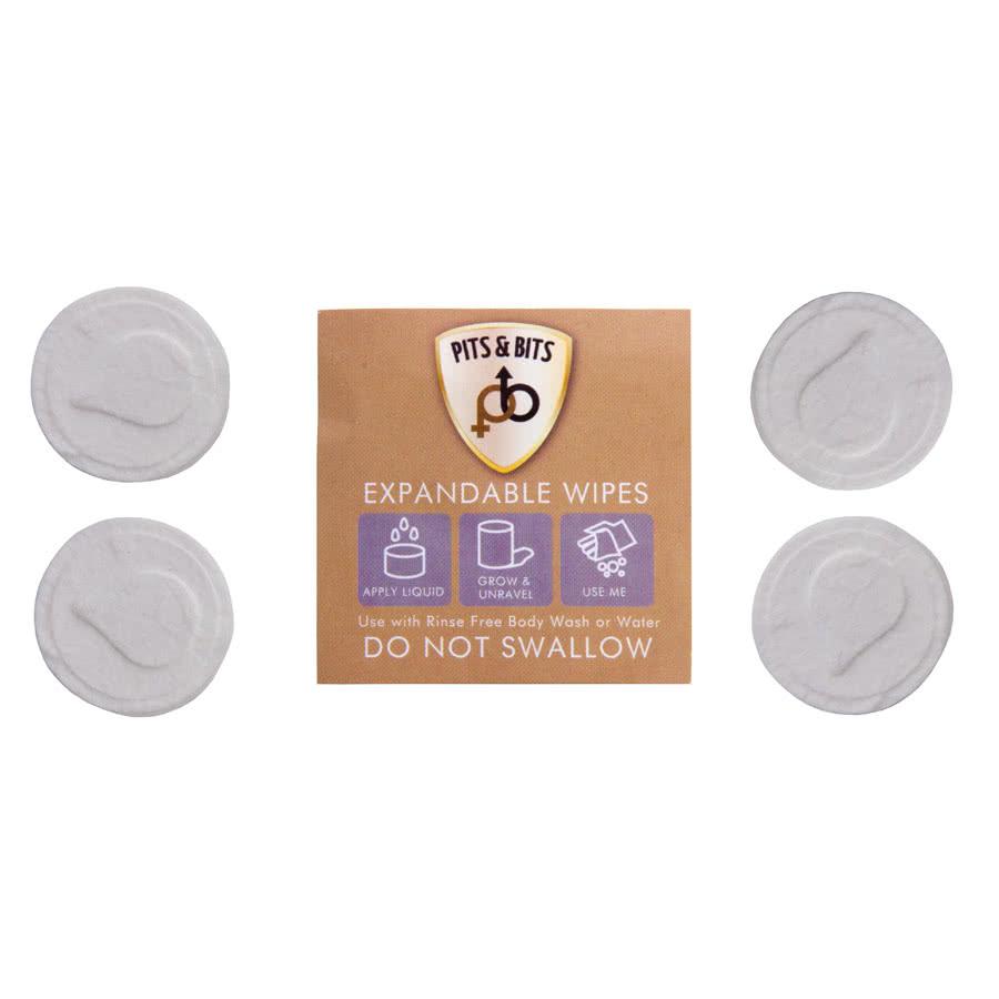 Pits & Bits Expanding Wet Wipes 4 Pack