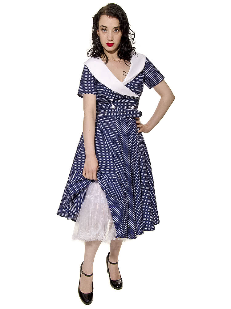 Hell Bunny Claudia 50s Dress (Navy)