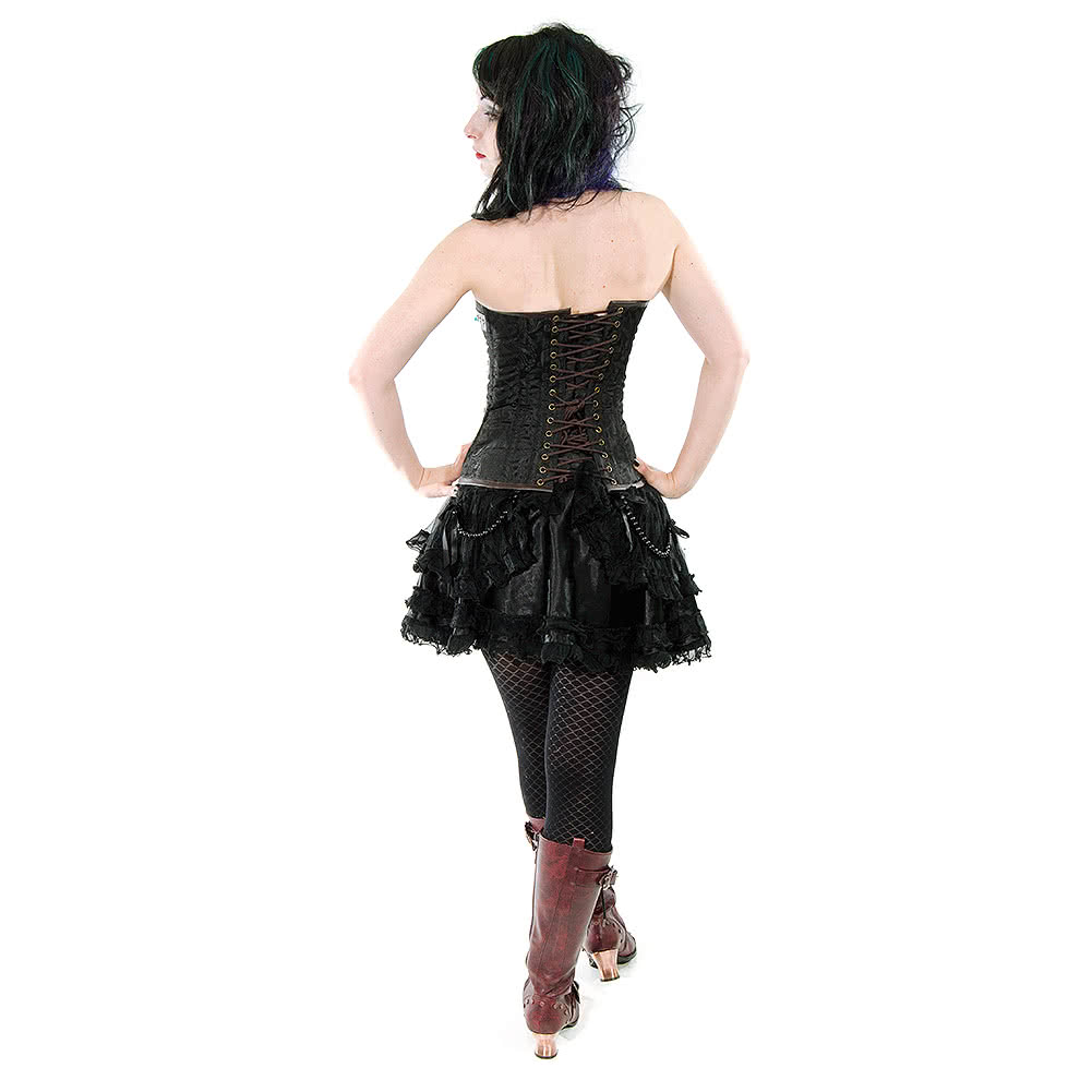 Burleska Overbust C-Lock Scroll Corset (Black/Brown)
