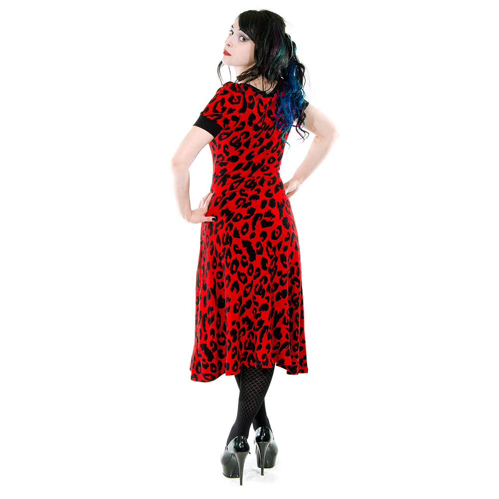 Jawbreaker Cherry Leopard Dress (Red)