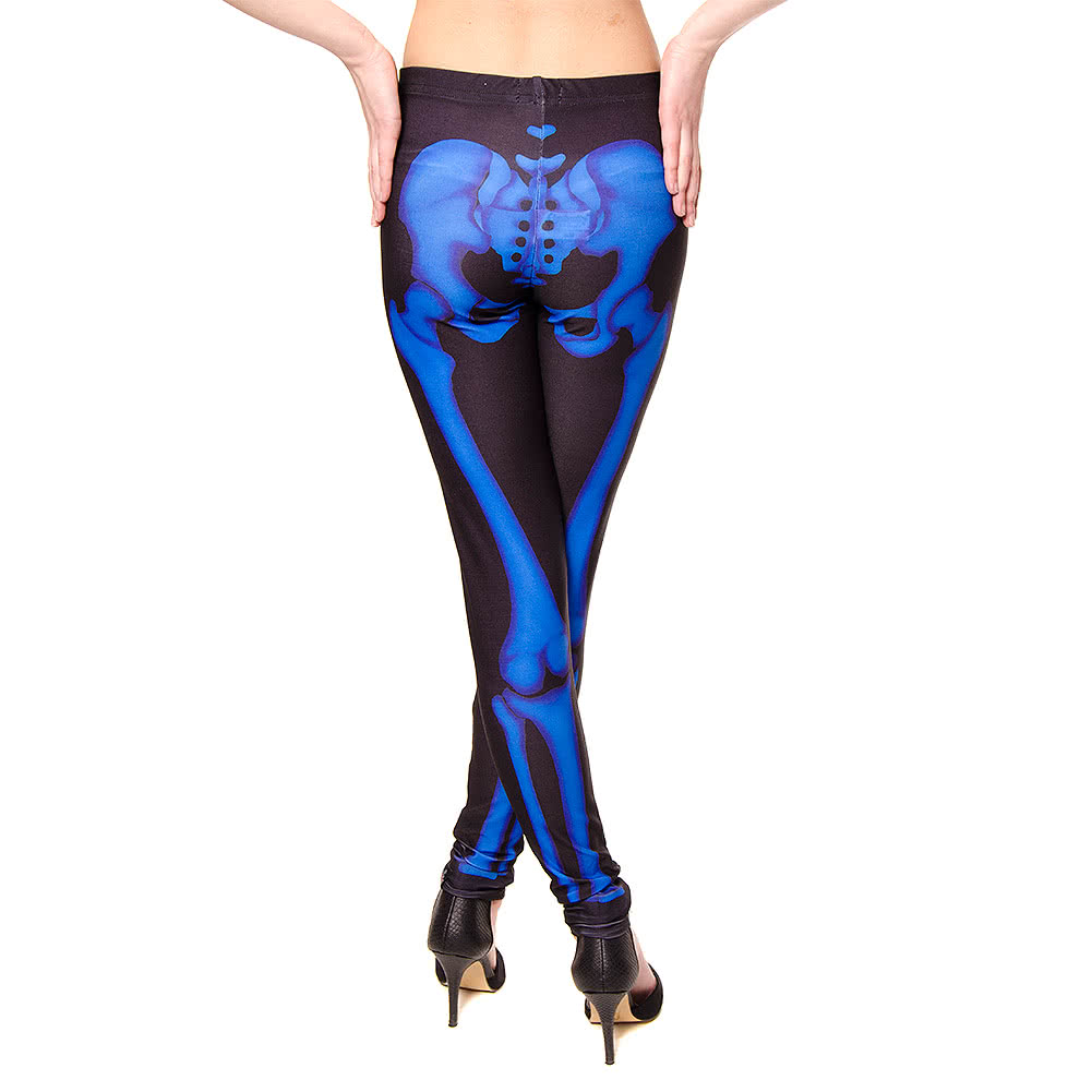 Insanity Skeleton Leggings (Black/Blue)