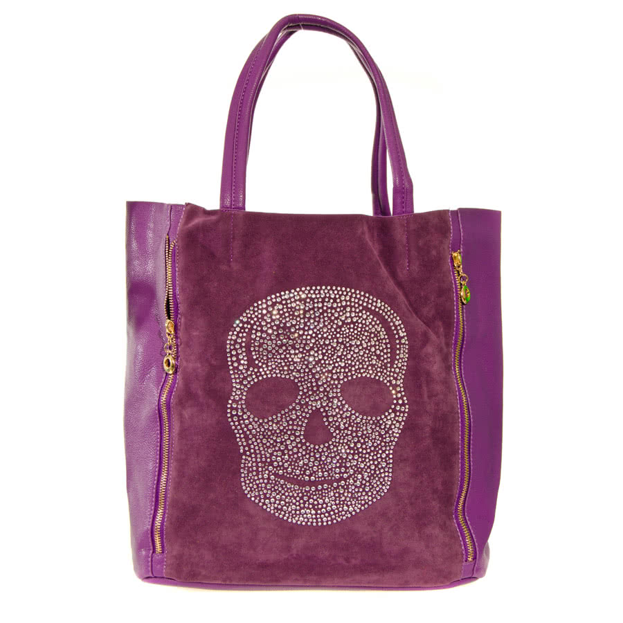 ... Accessories » Handbags » Blue Banana Skull Shopper Bag (Purple
