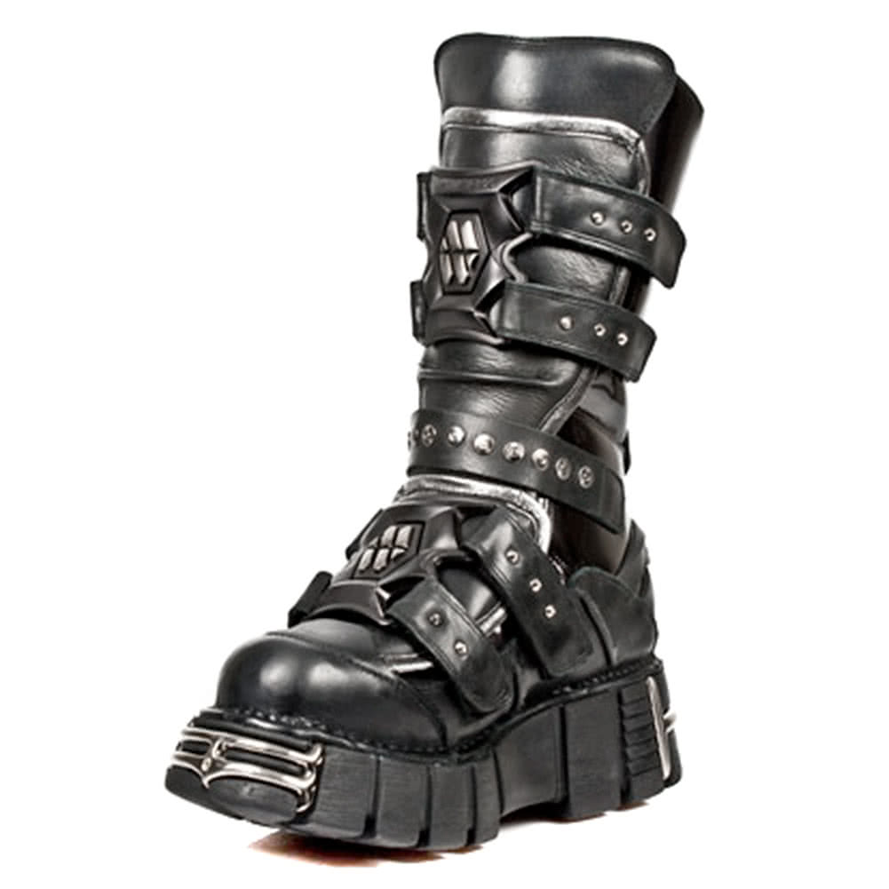 New Rock Boots Calf High Style M1026-S1 (Black)