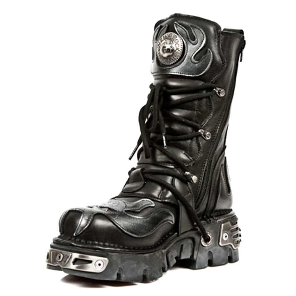 New Rock Boots Silver Flames Style M107-S2 (Black)