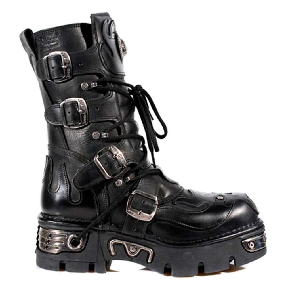 New Rock Boots Black Flames Style M107-S3 (Black)