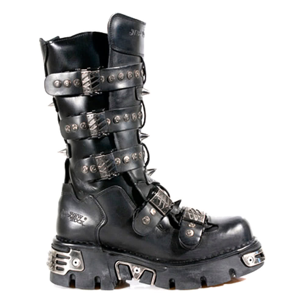 New Rock Boots Slashed Buckles Style M134-S1 (Black)