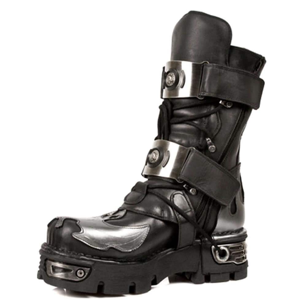 New Rock Boots Silver Flames Style M195-S2 (Black)