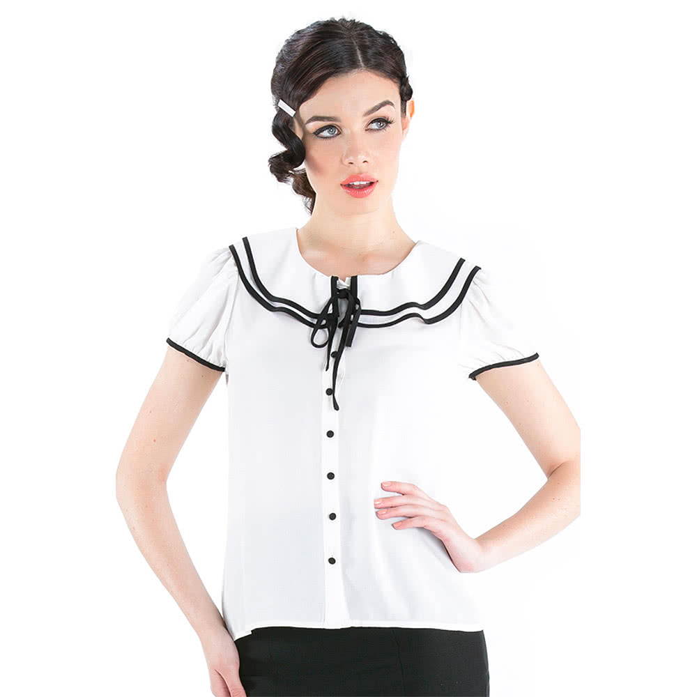 Voodoo Vixen Bow Top (White/Black)