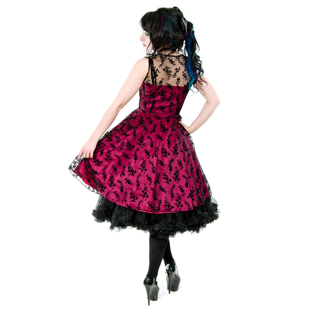 Voodoo Vixen Taffeta Lace Dress (Pink)