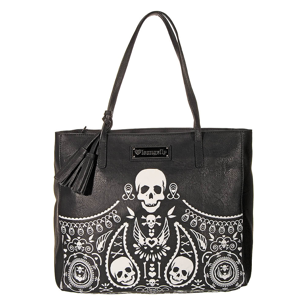 Loungefly Skull & Bones Tassels Bag (Black/White)