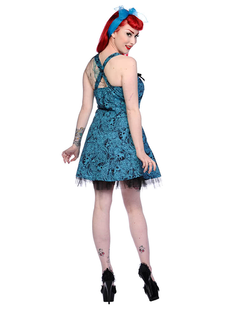 Banned Skull & Roses Dress (Blue)