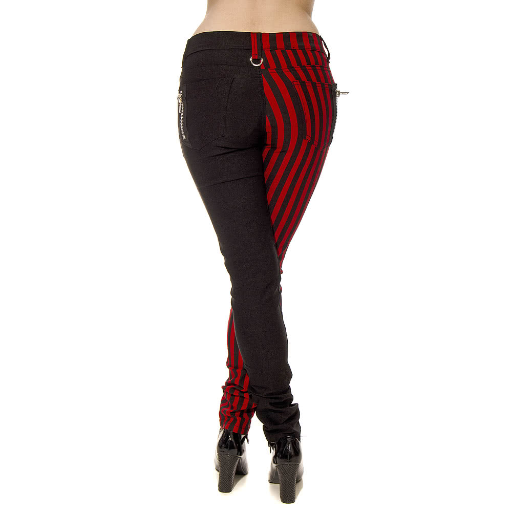 Banned 1/2 Stripe Jeans (Black/Red)