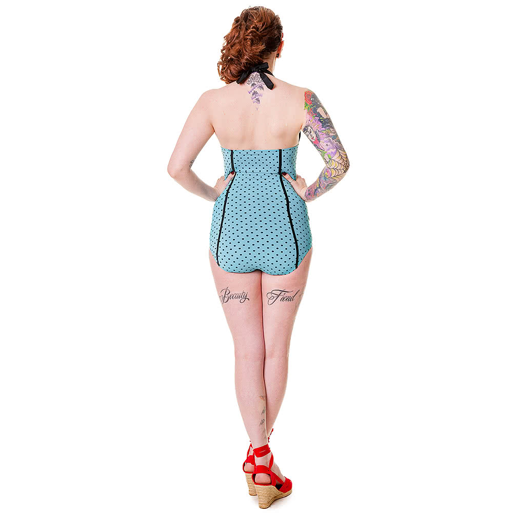 Banned Polka Dot Swimsuit (Blue)
