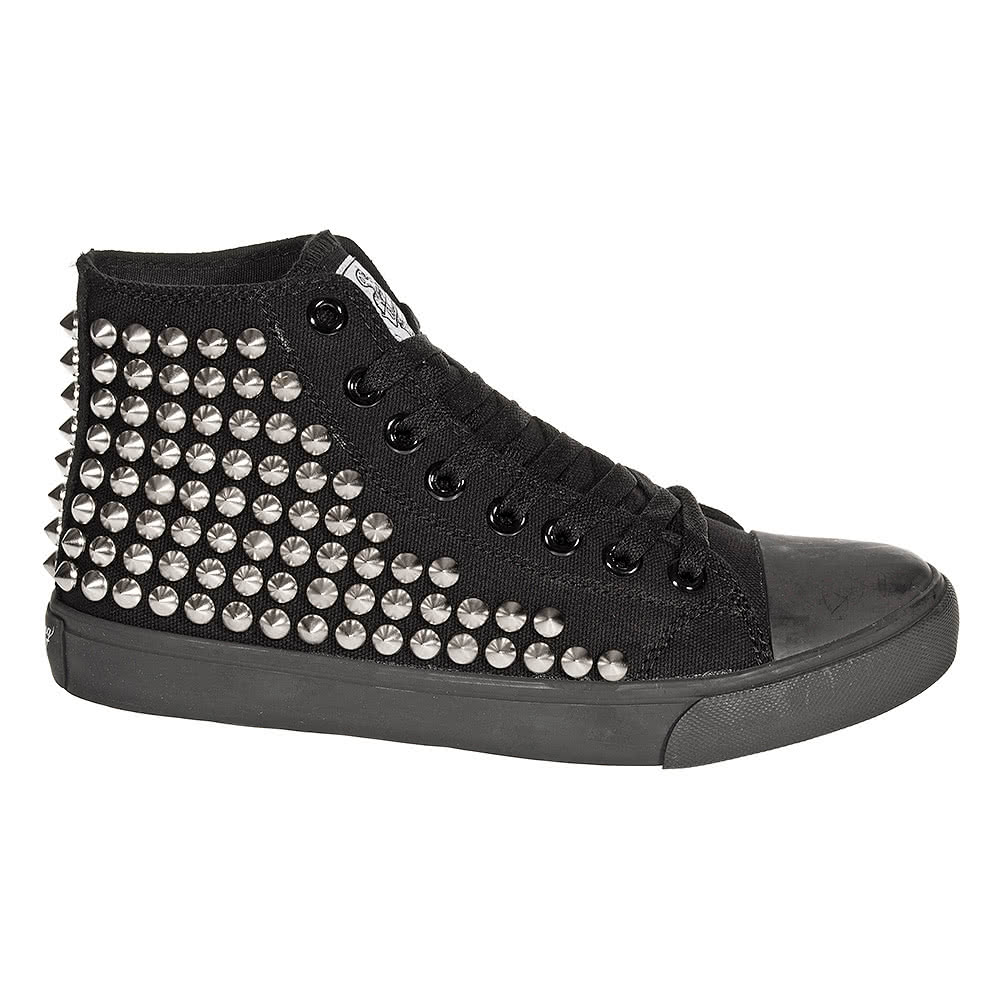 Bleeding Heart Silver Studded Canvas Hi Tops (Black)