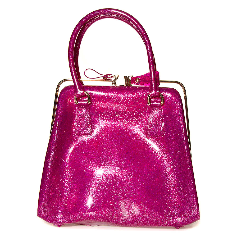 Blue Banana Glitter Jelly Handbag (Pink)