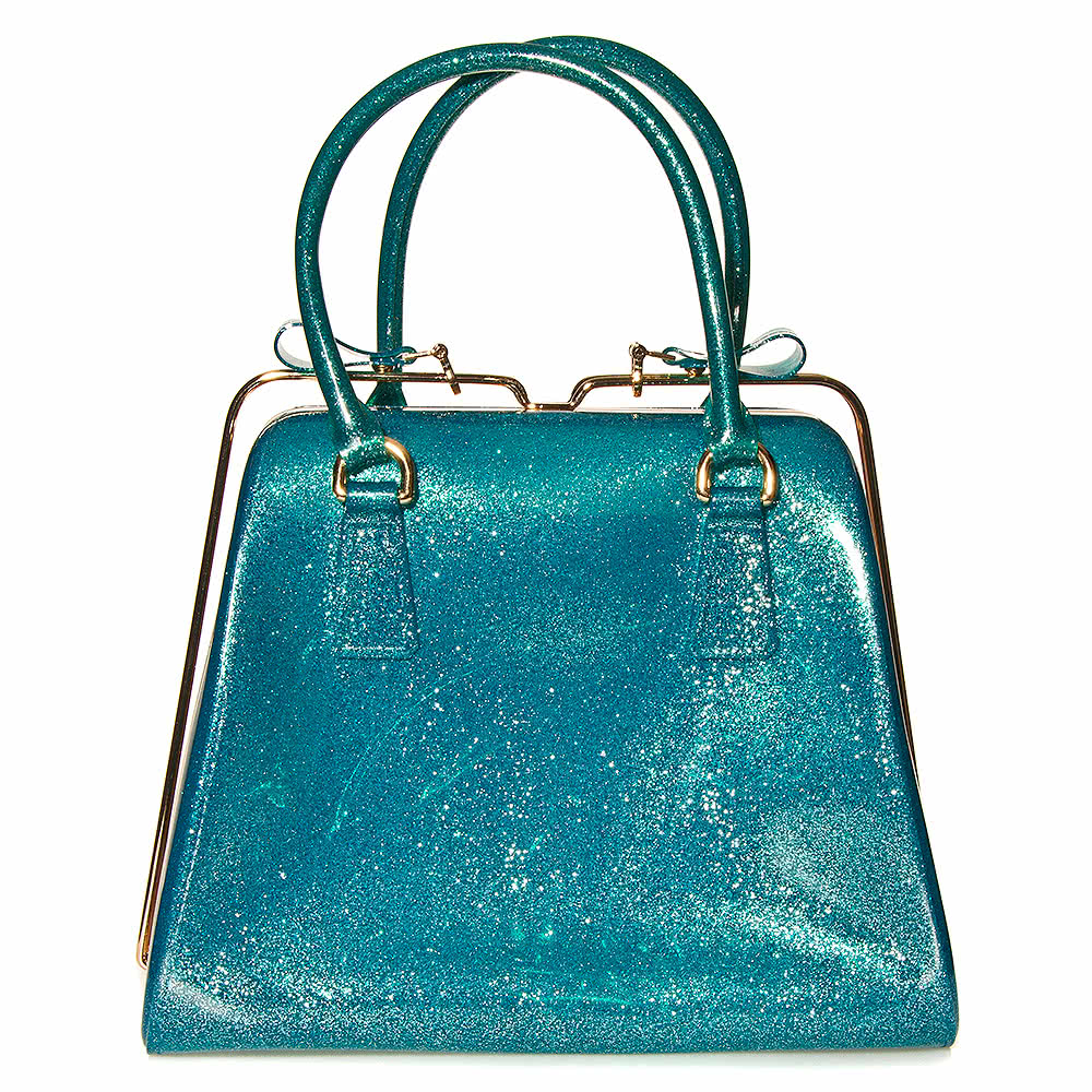 Blue Banana Glitter Jelly Handbag (Blue)