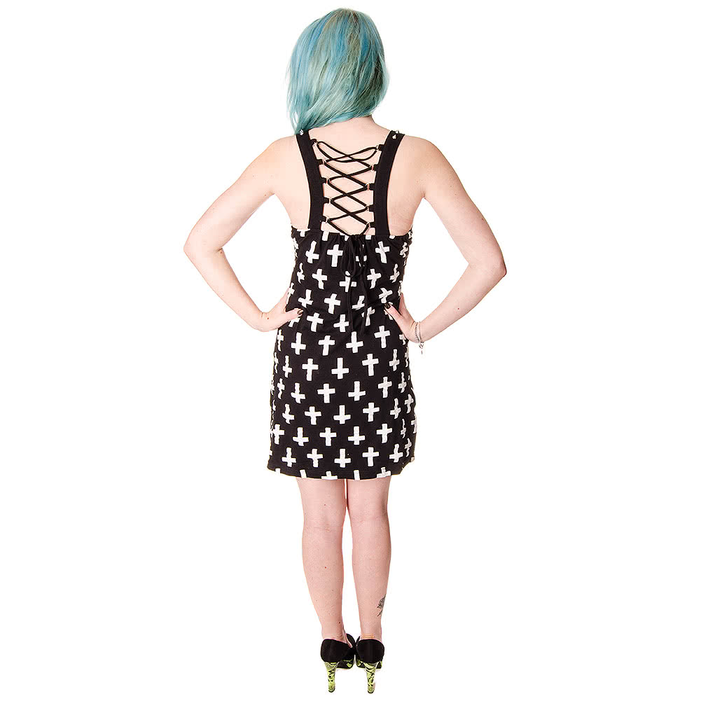 Vixxsin Crucifix Vest Dress (Black)