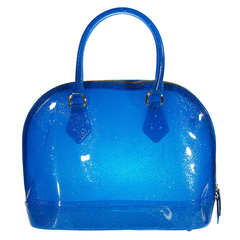 Blue Banana Large Glitter Plastic Handbag (Blue)