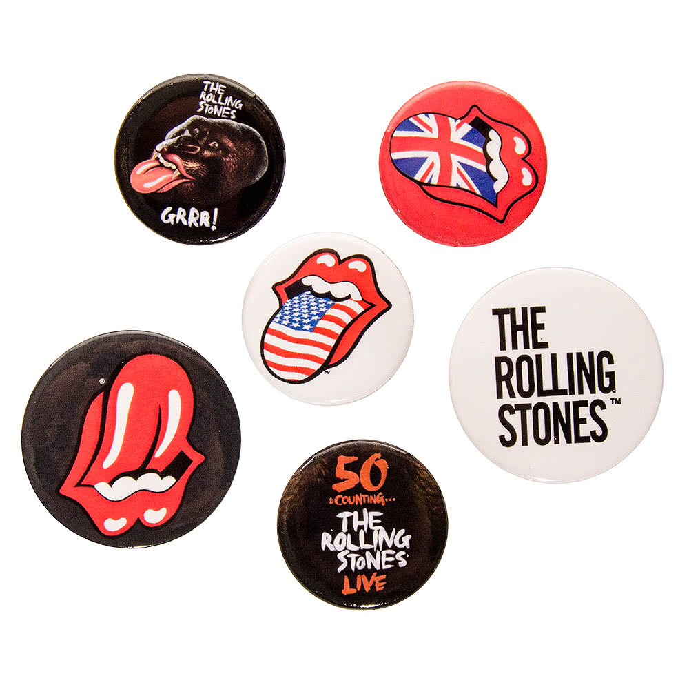 The Rolling Stones Lips Badge Set