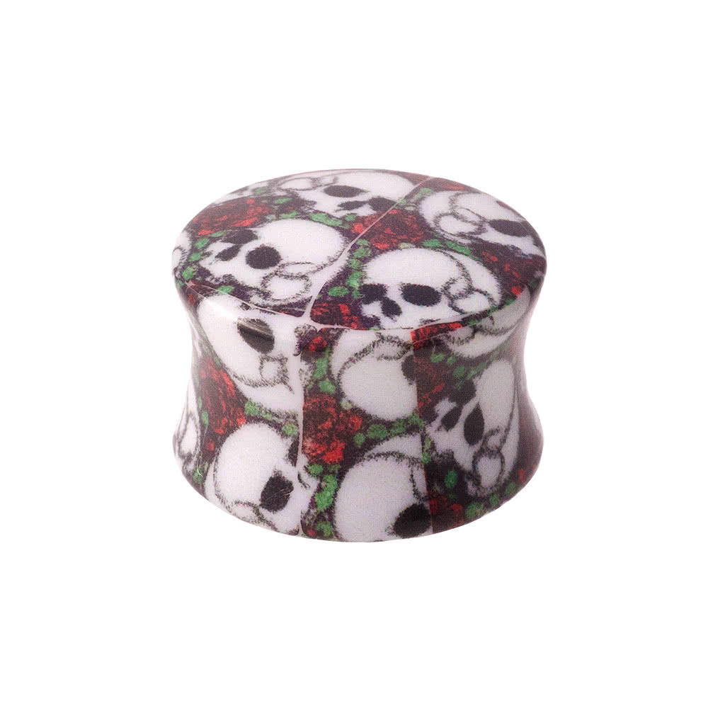 Blue Banana Skull & Rose Plug (Multi-Coloured)