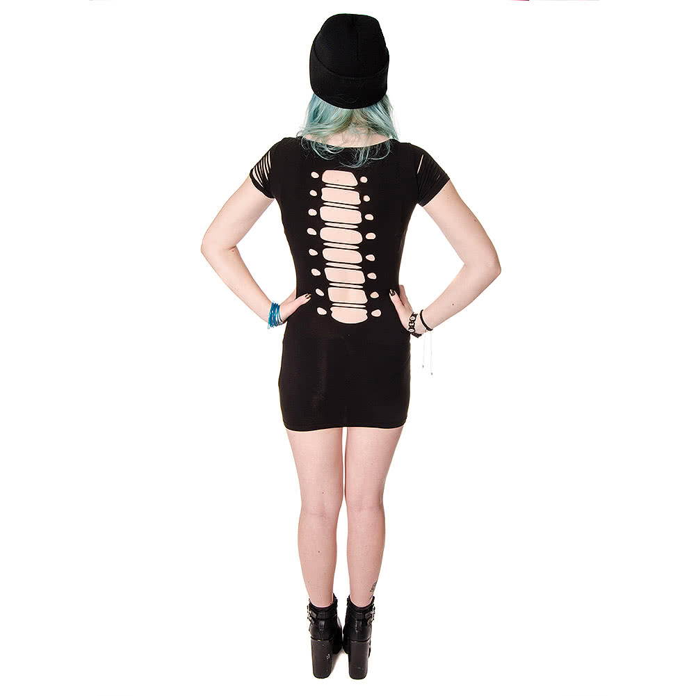 Banned Corset Ribcage Vest Dress (Black)