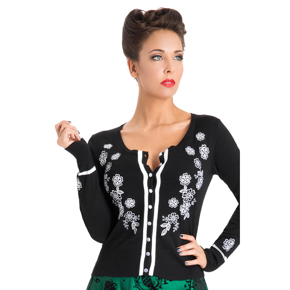 Voodoo Vixen Harriet Flower Cardigan (Black/White)