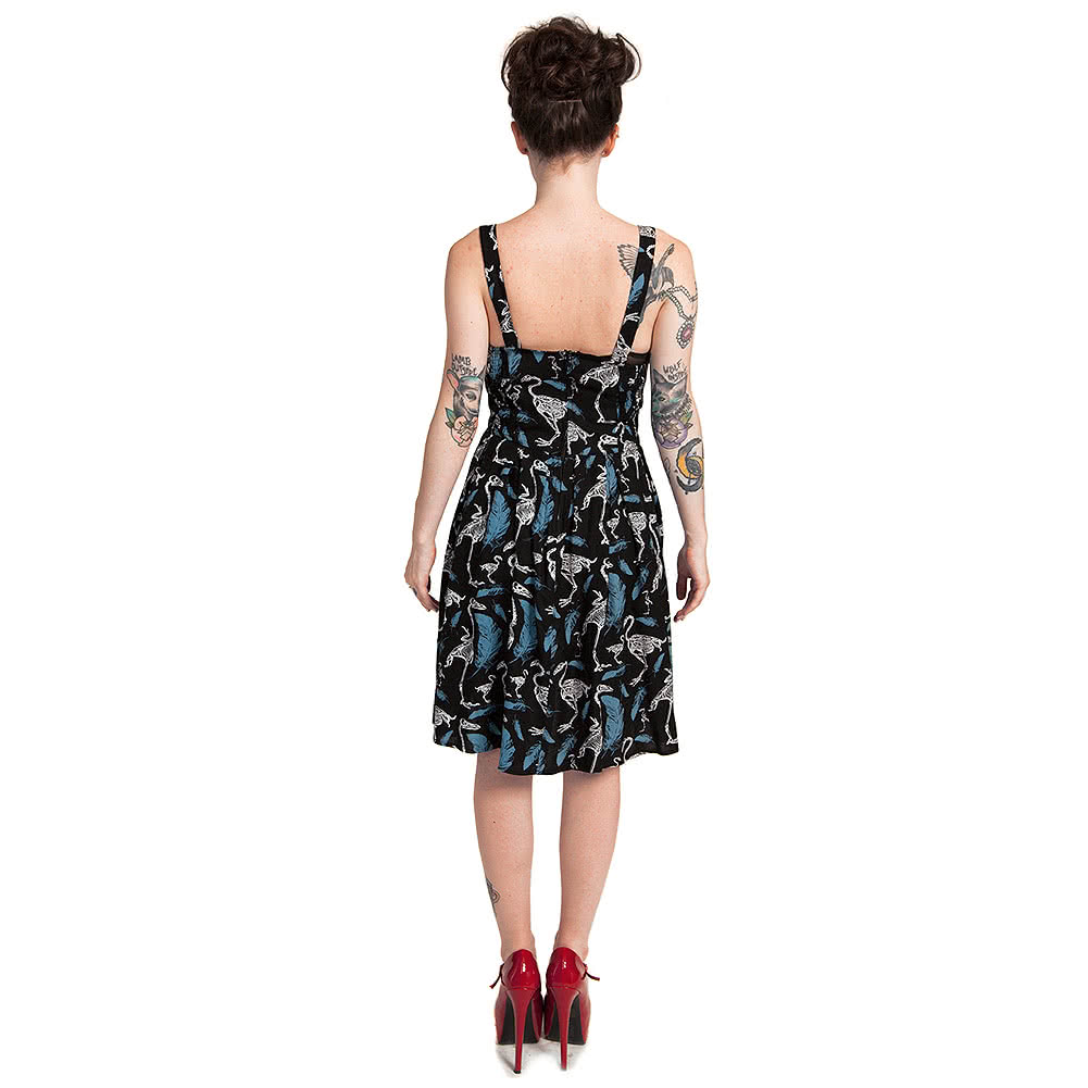 Cold Heart Skeleton Swans Vintage Dress (Black/Blue)