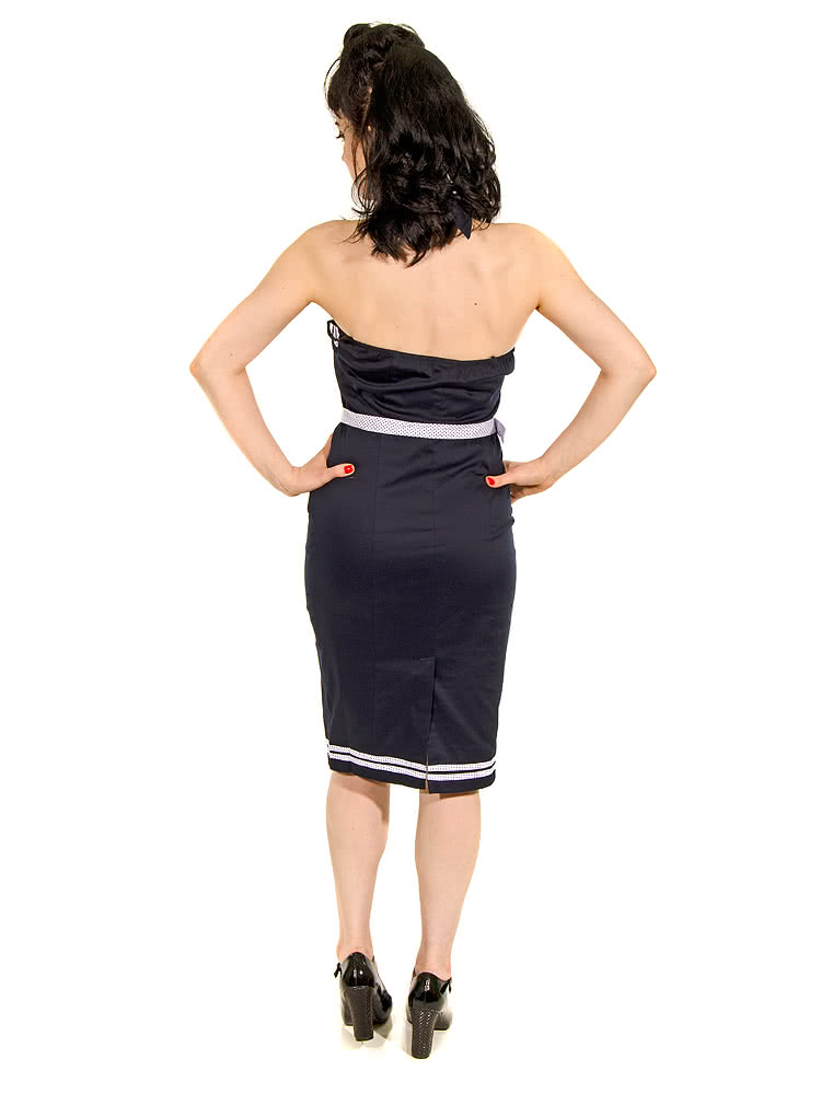 Banned Sailor Halterneck Dress (Navy)