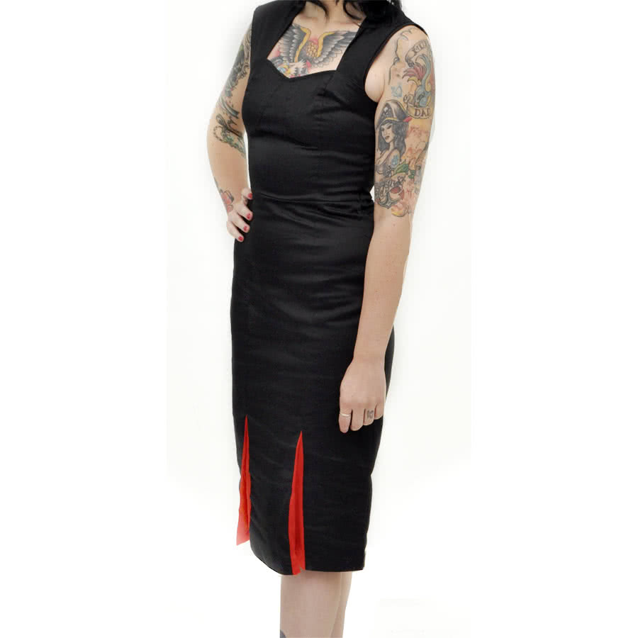 H&R Pleats Dot Pencil Dress (Black)