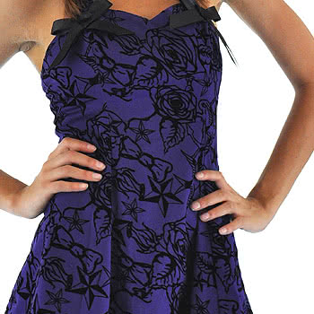 H&R Purple Flock Dress w/Petticoat