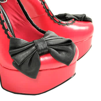 T.U.K Pink With Black Bow Platform Shoes