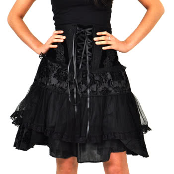 Banned Black Lace Short Skirt (Black)